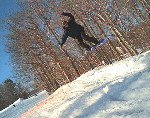 Ivo catches some air at Killington's Timberline Terrain Park