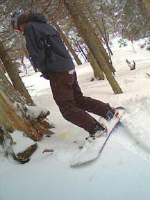 Ivo takes a leak out of bounds in Cathedral tree run at Killington