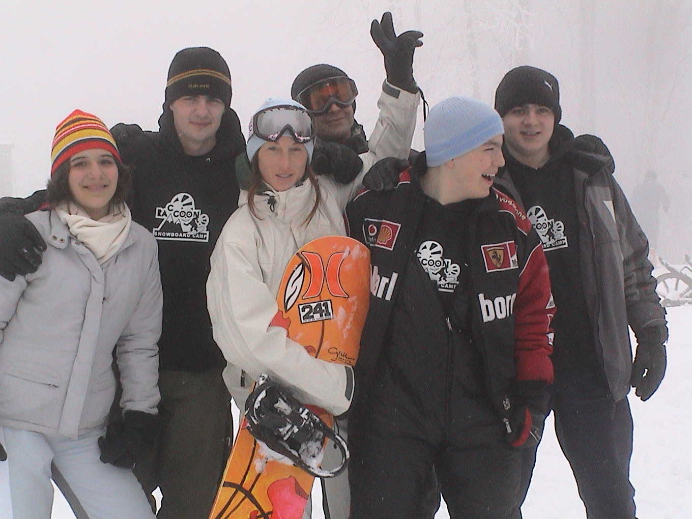 Participants of Raccoon Snowboard Programme with Tina Basich on Mt. Sljeme