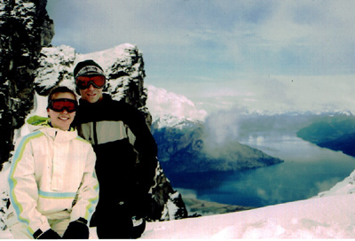 Two Aussie tourists on the top of the Remarkables
